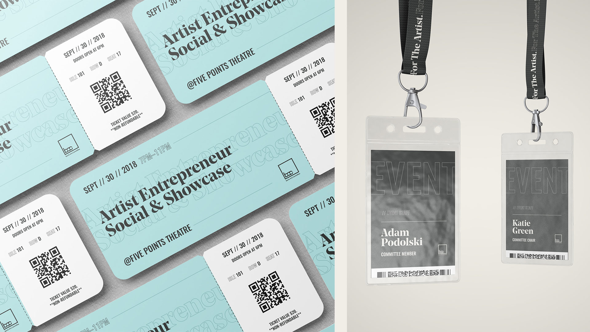 barrie arts committee event tickets and lanyard mockup