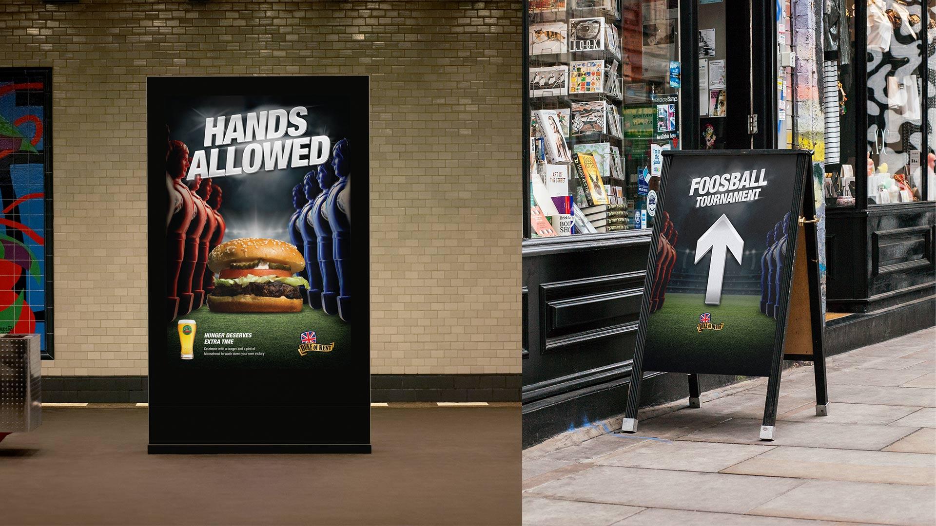 duke pubs futbol 2018 campaign backlit and directional signage mockups
