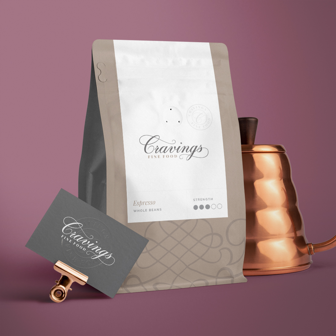 cravings fine food business card and coffee bag design for branding case study tile
