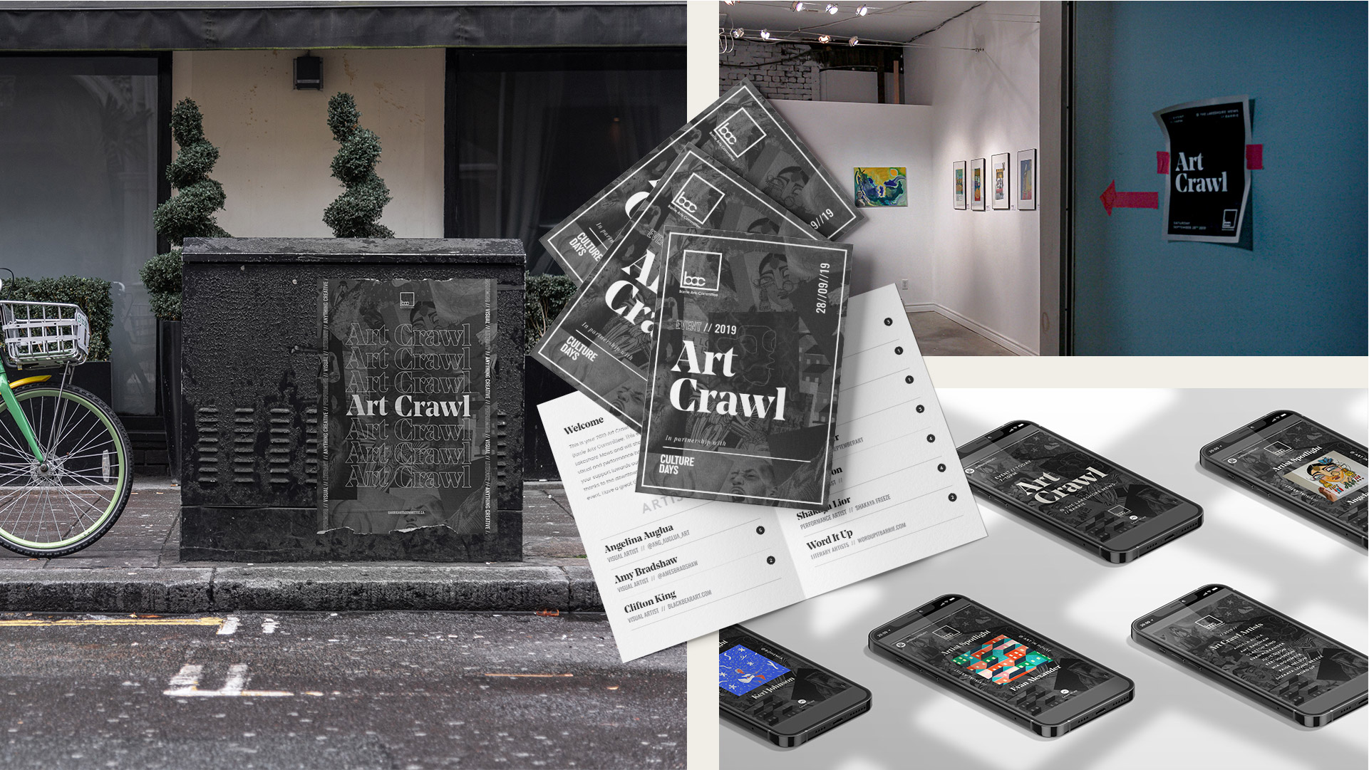 barrie arts committee art crawl event poster booklet and social media designs