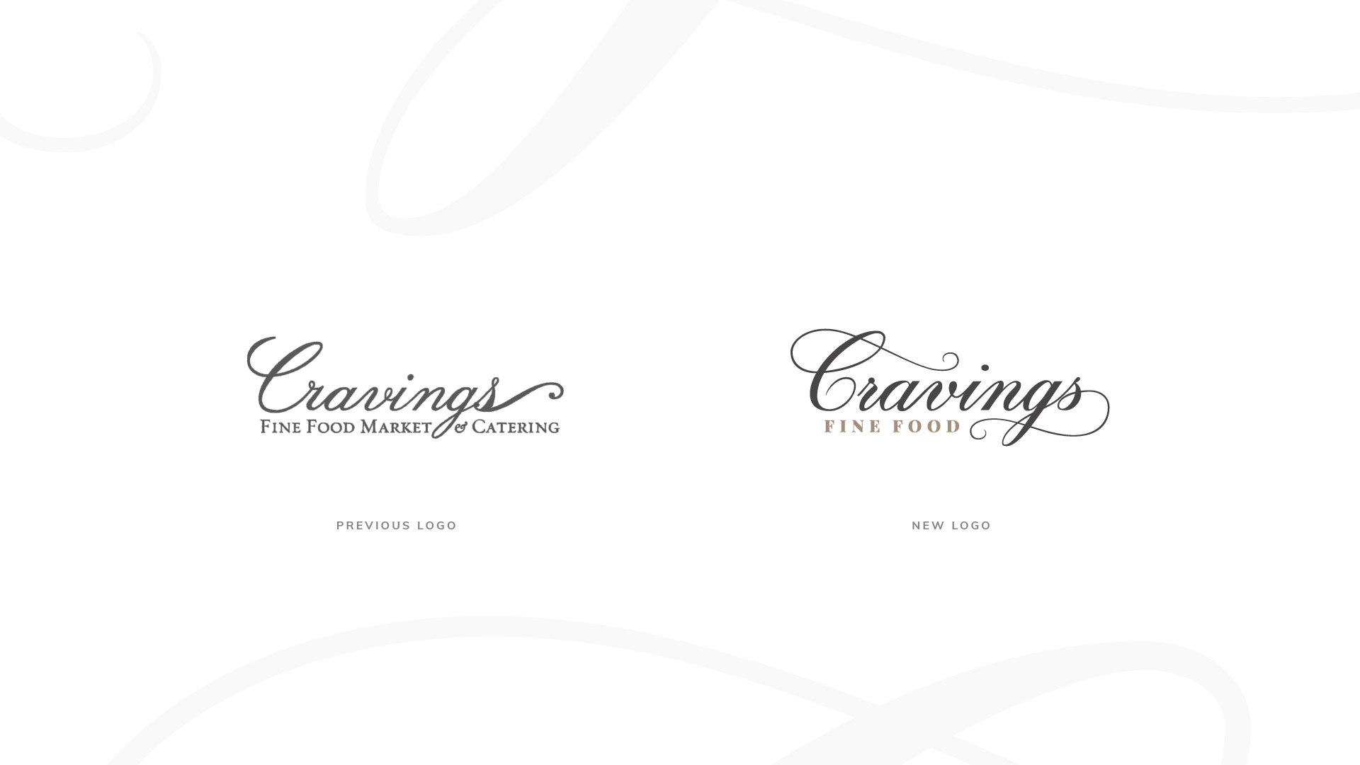 cravings fine food old logo and new logo