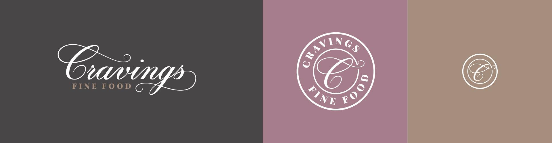 cravings fine food logo variations
