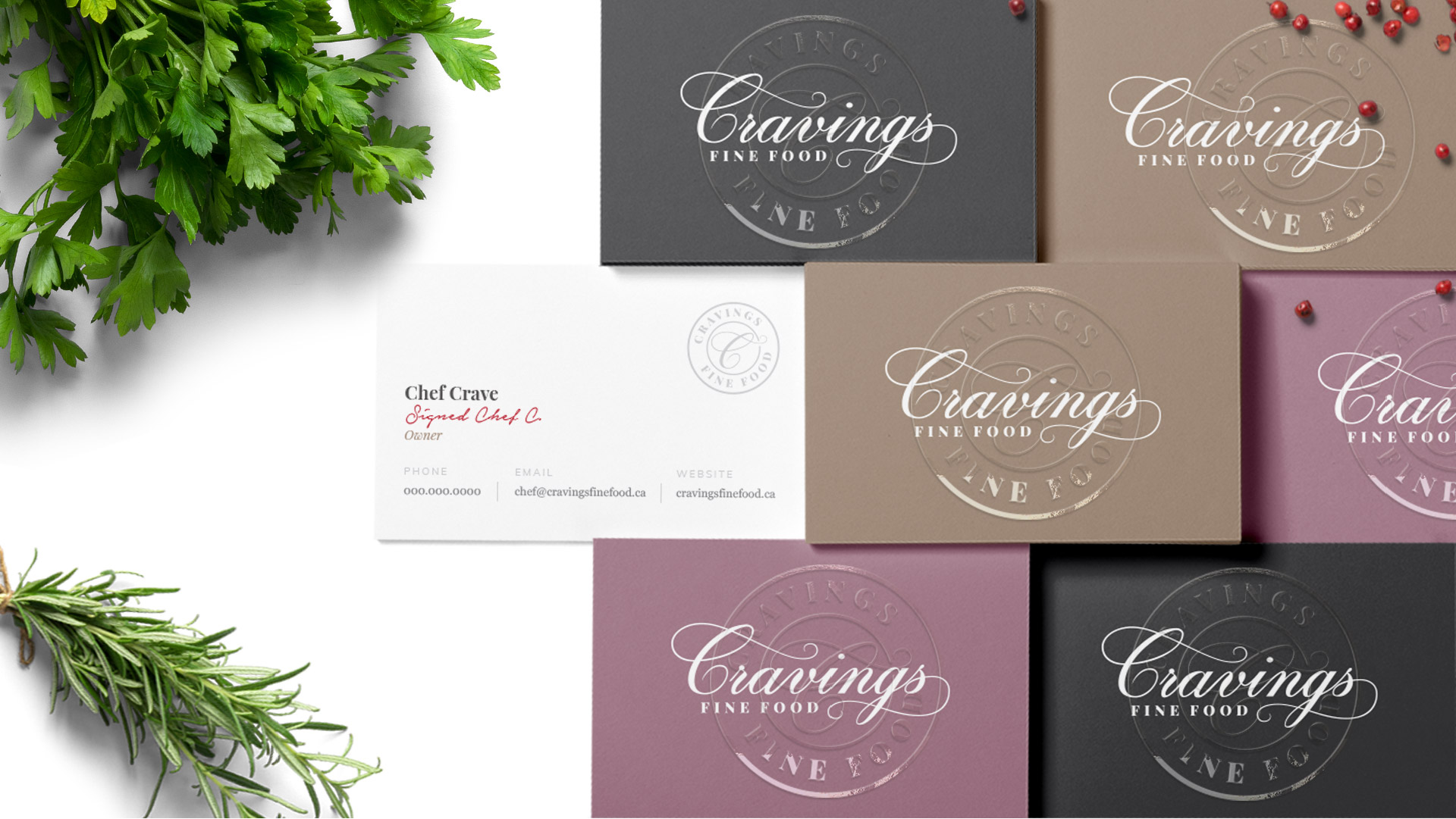 cravings fine food business cards