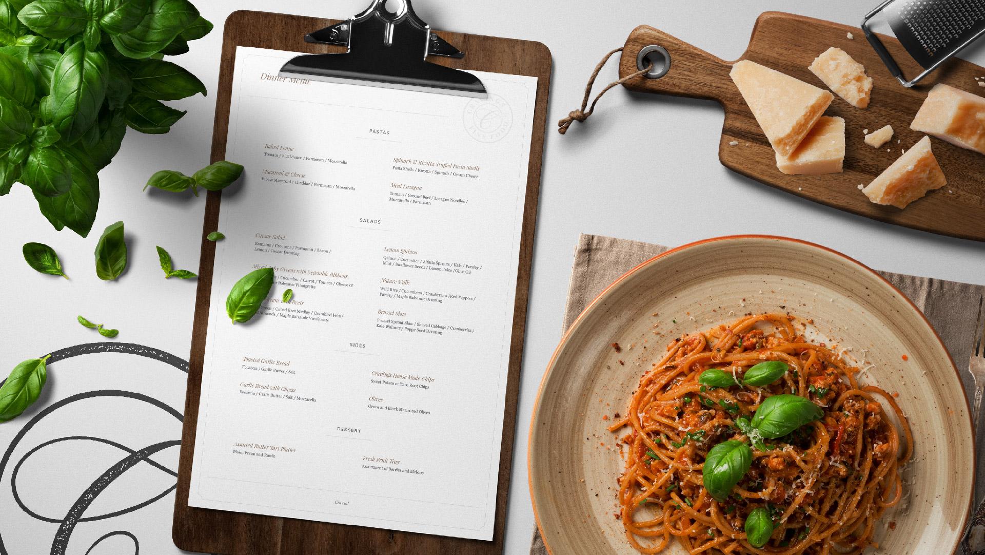 cravings fine food menu mockup