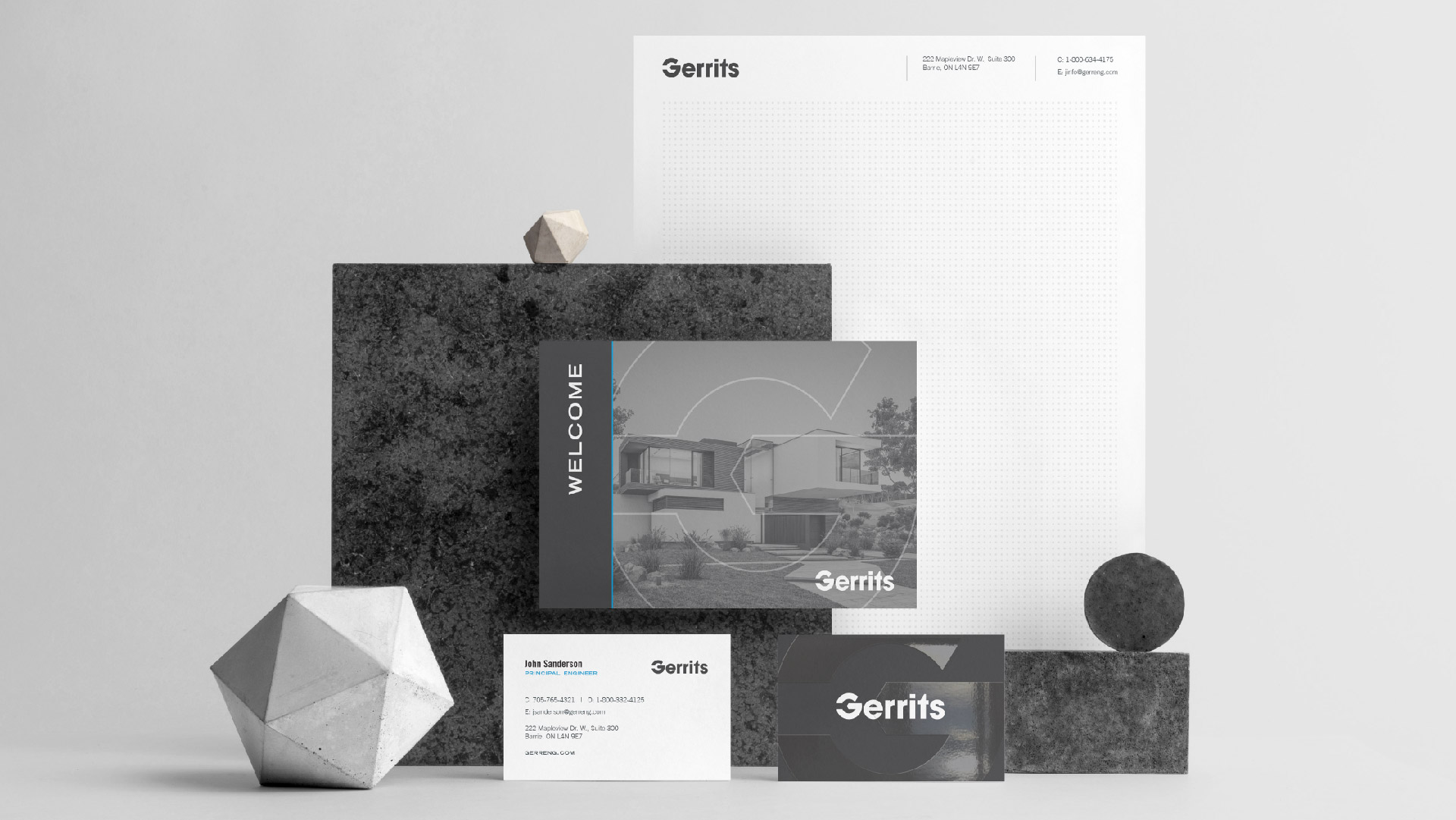 gerrits engineering letterhead mailer and business card designs