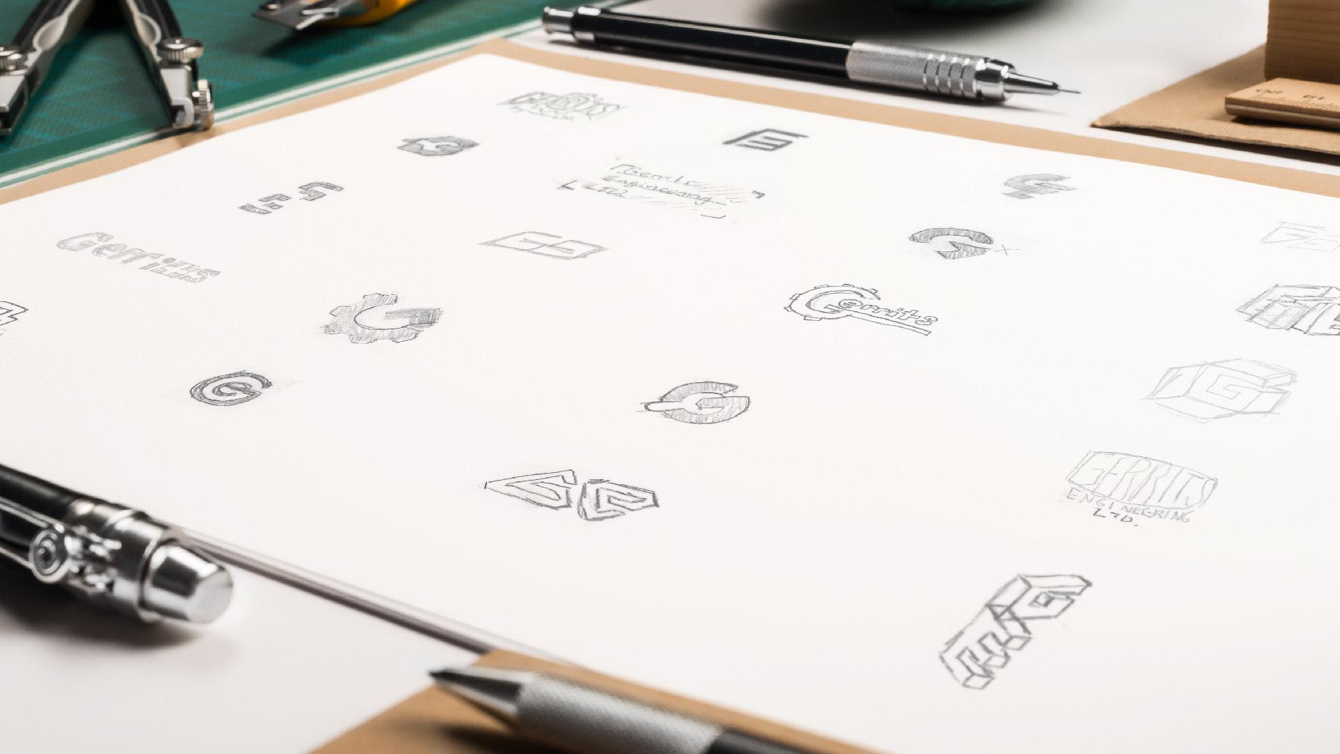 gerrits engineering hand drawn logo concepts