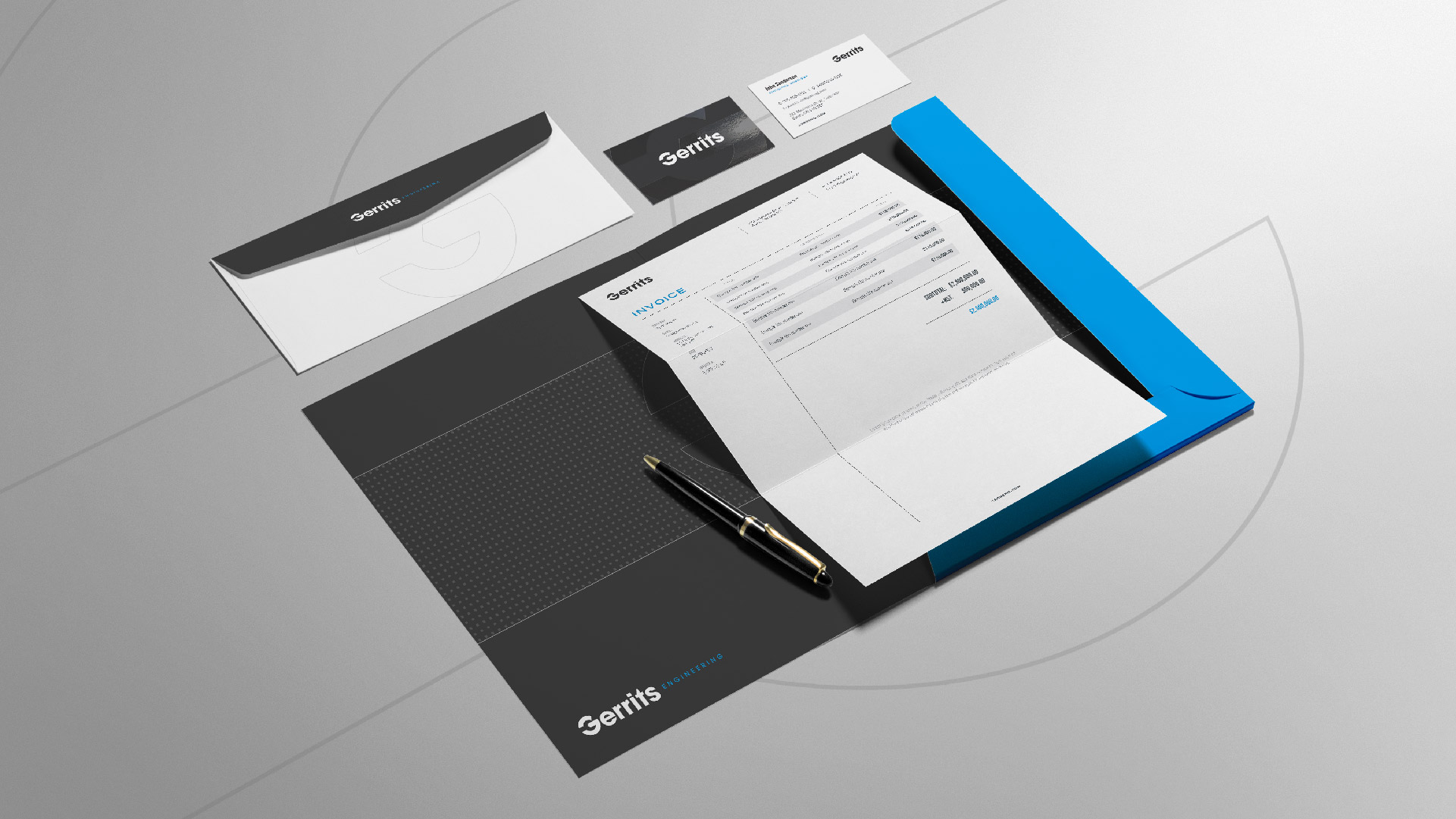 gerrits engineering invoice envelope and business card designs