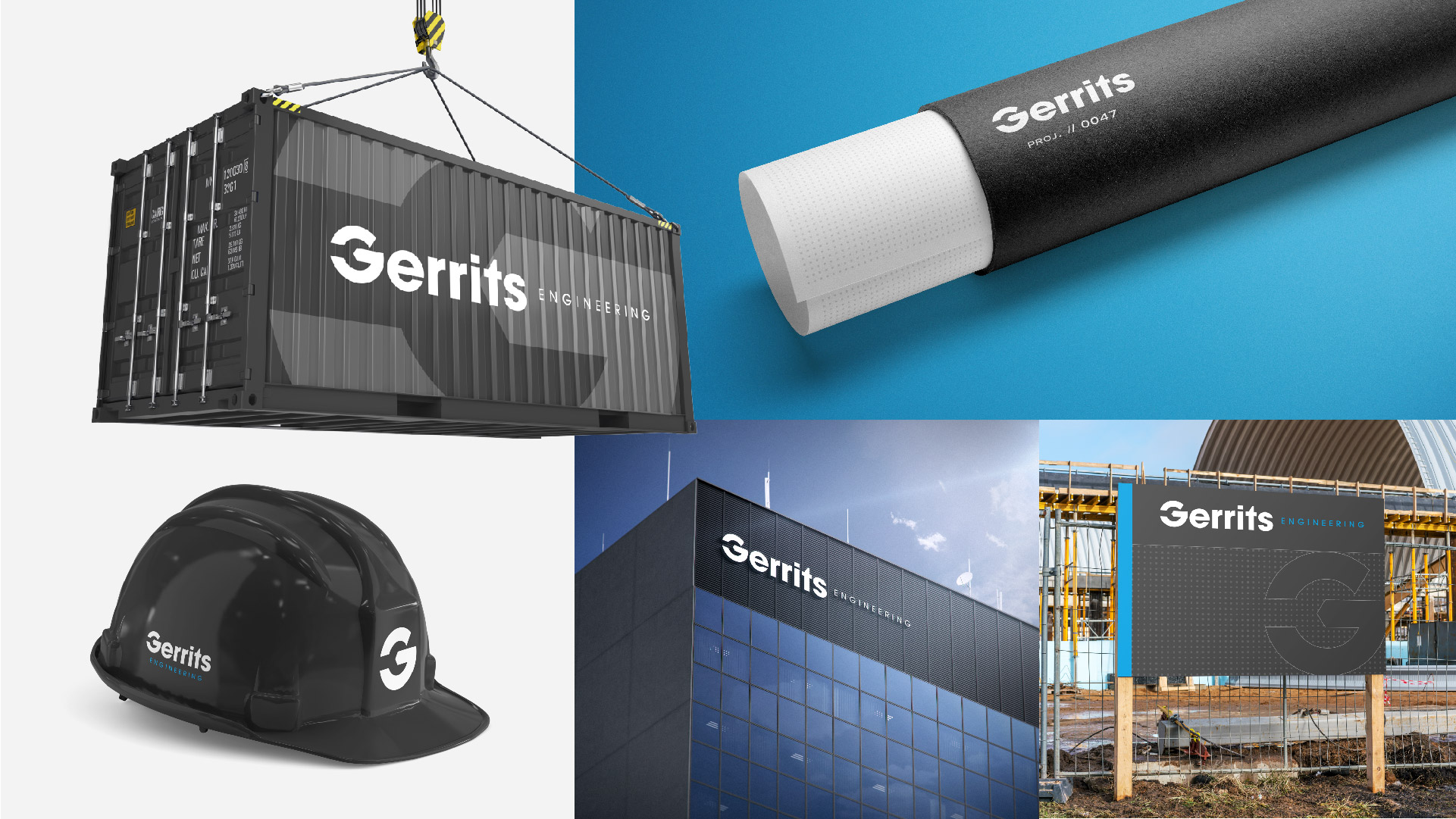 gerrits engineering storage container packing tube building signage contruction sign and hard hat