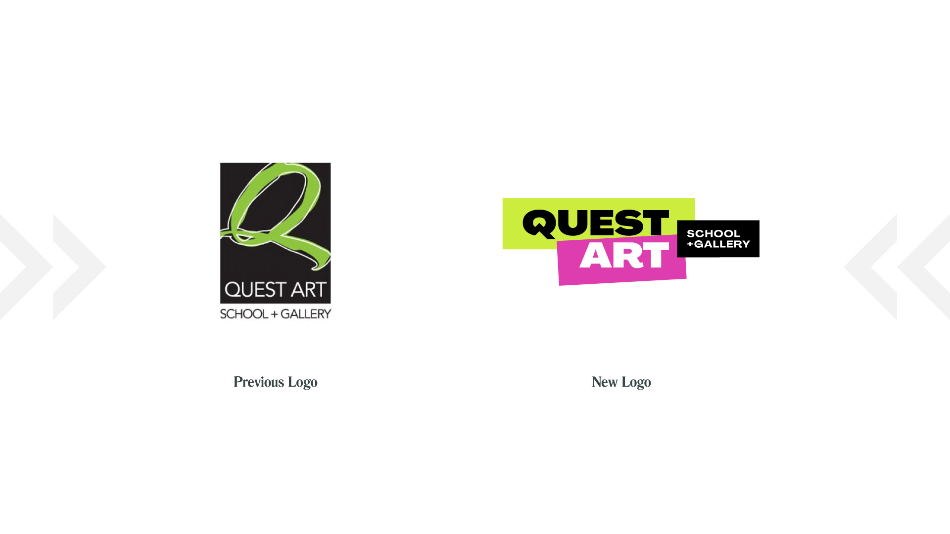 quest art school and gallery previous and new logo comparison