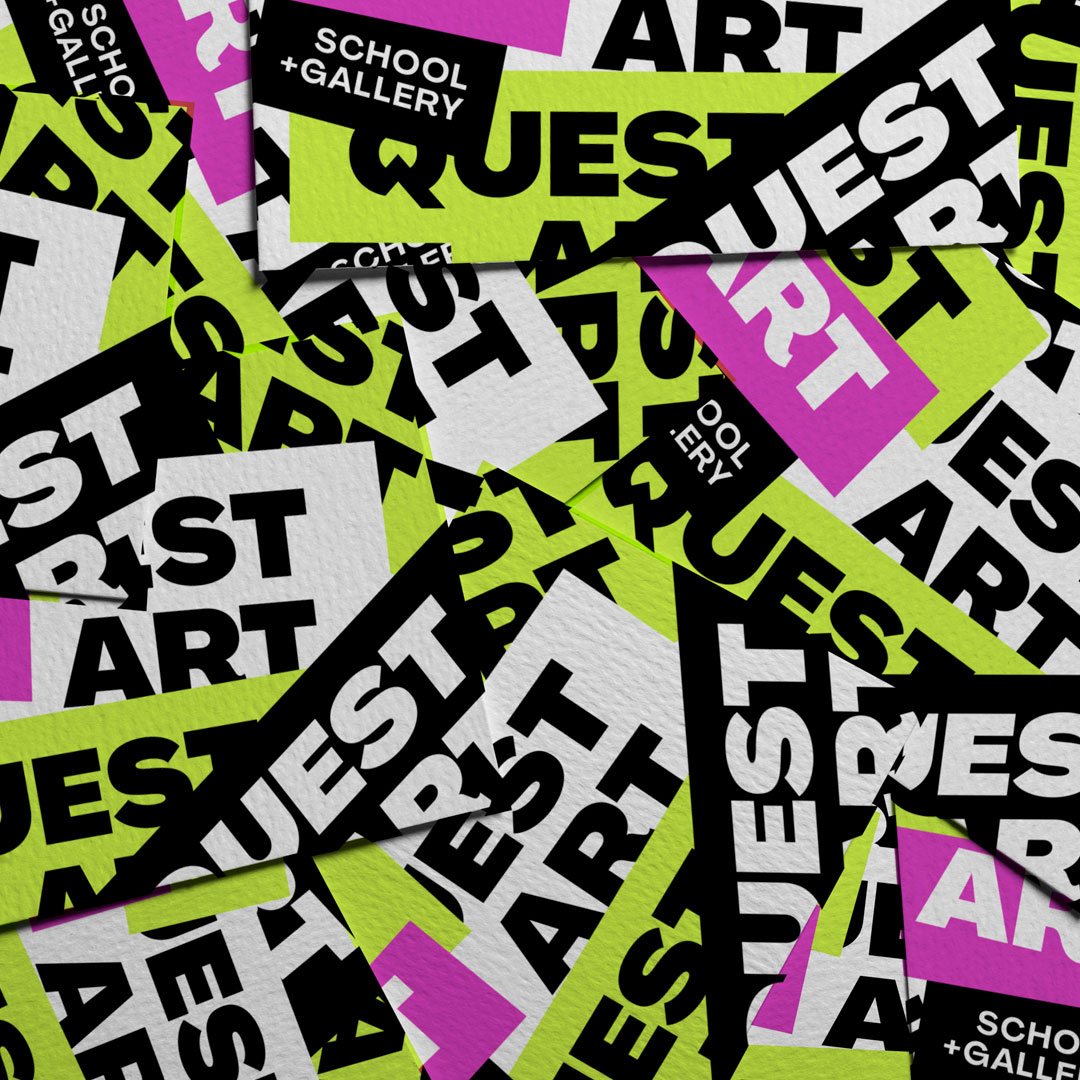 quest art branded business cards and case study tile