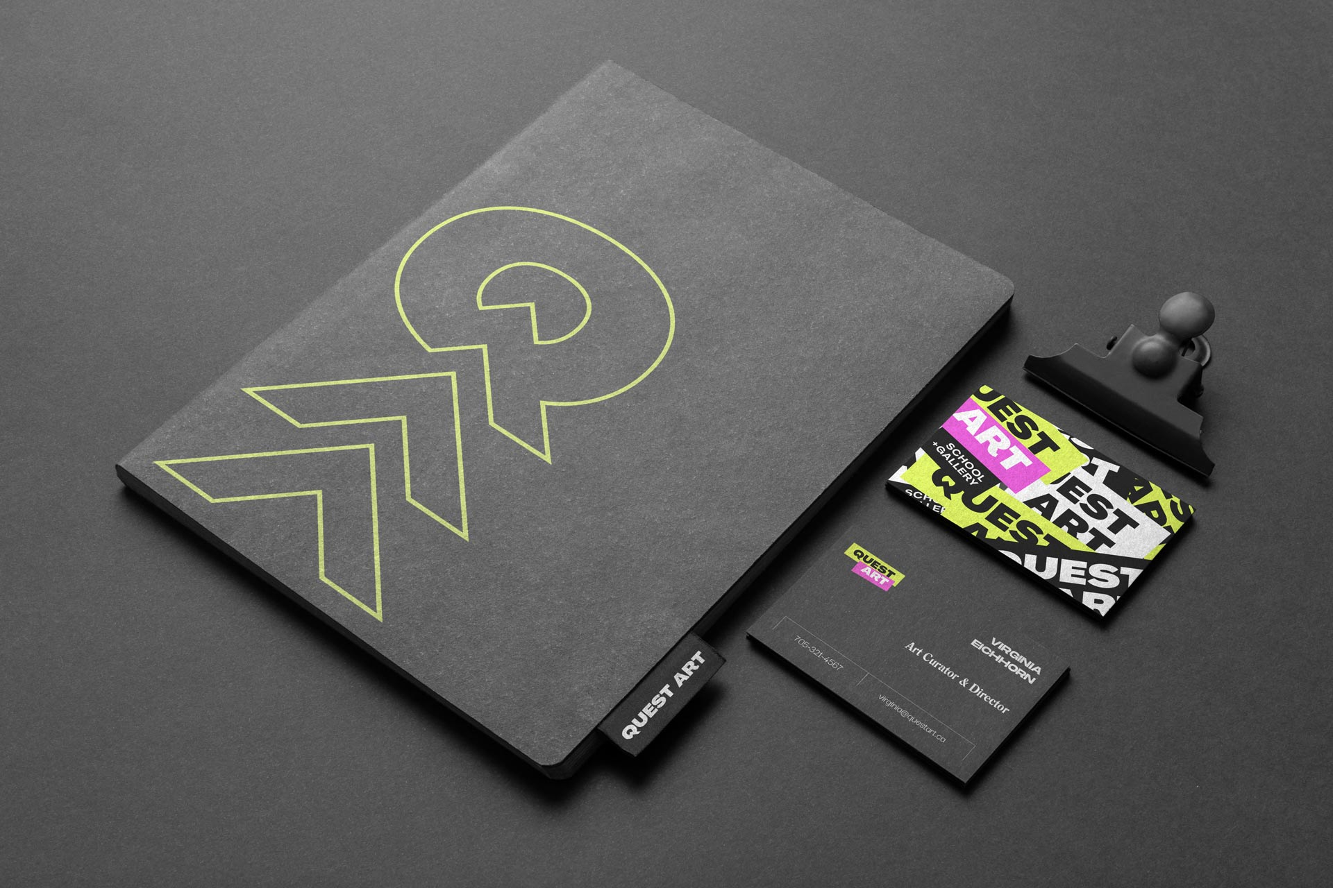 quest art school and gallery sketch book and business cards