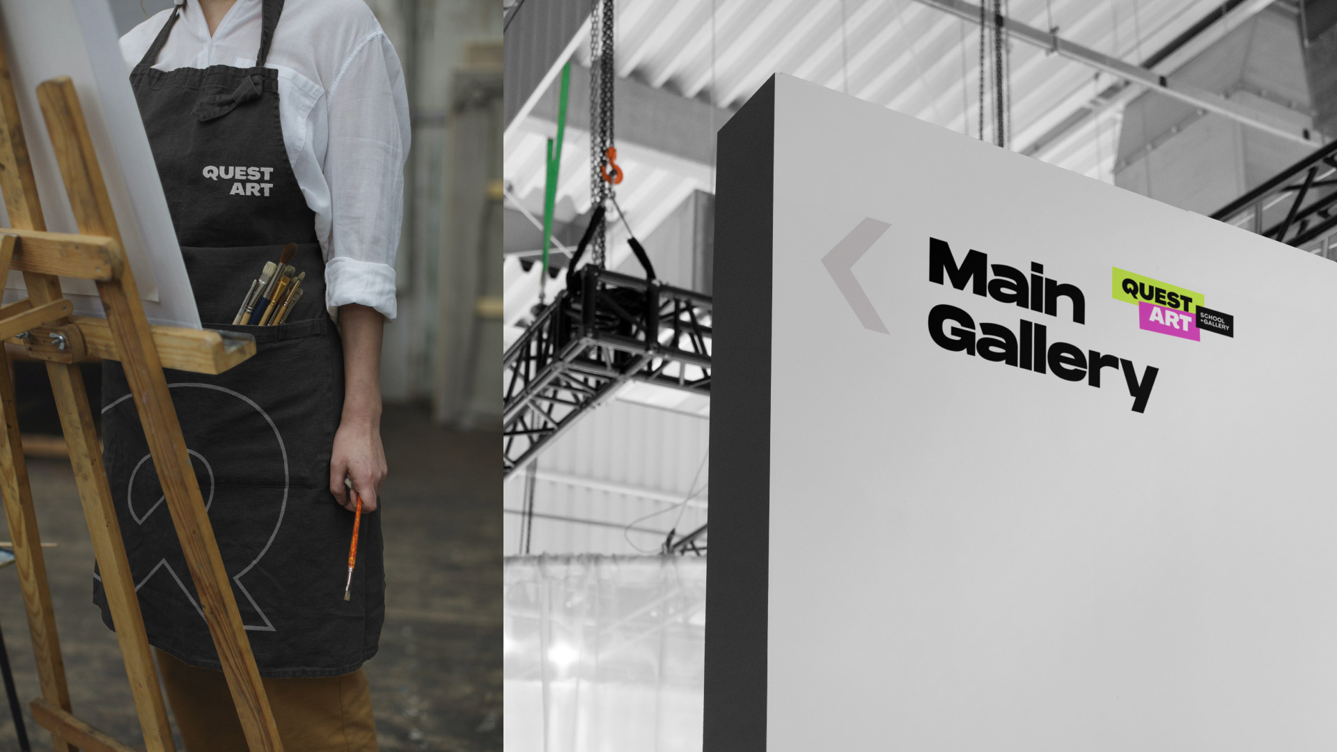 quest art school and gallery painters smock and wayfinding