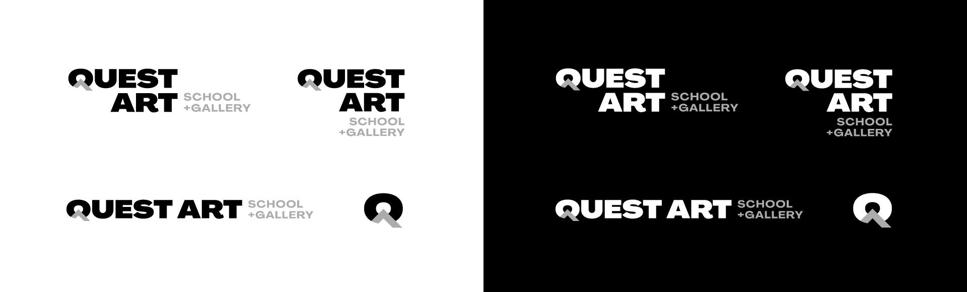 quest art school and gallery corporate branding logo variations