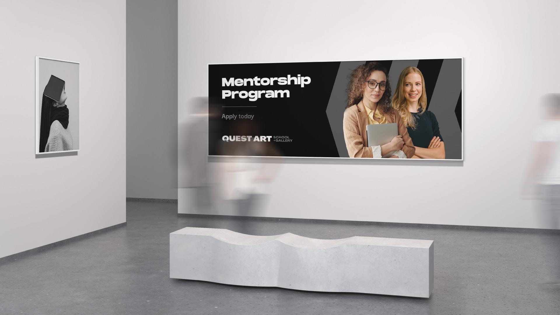 quest art school and gallery mentorship program banner design
