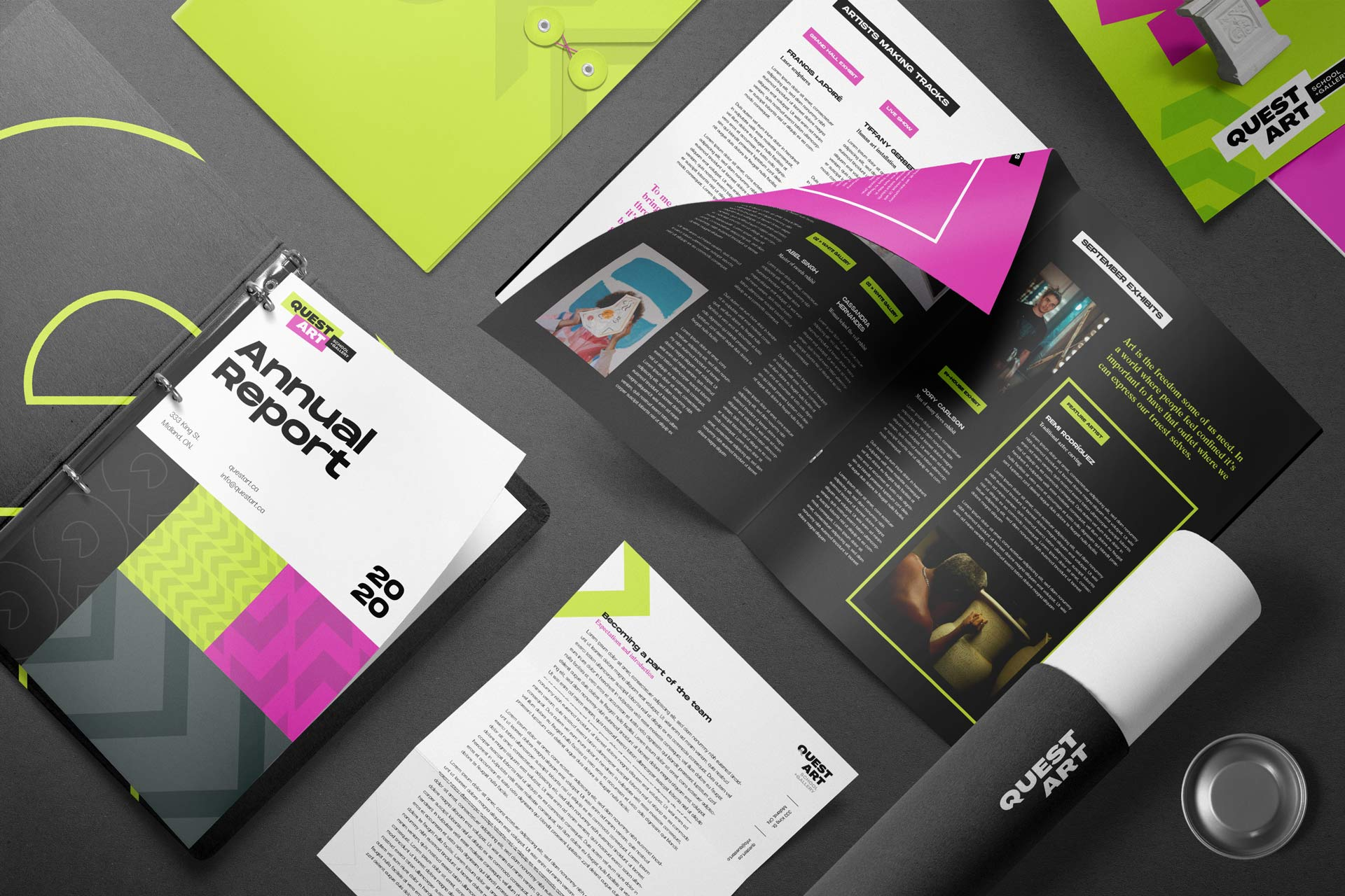 quest art school and gallery magazine letterhead and annual report branding design