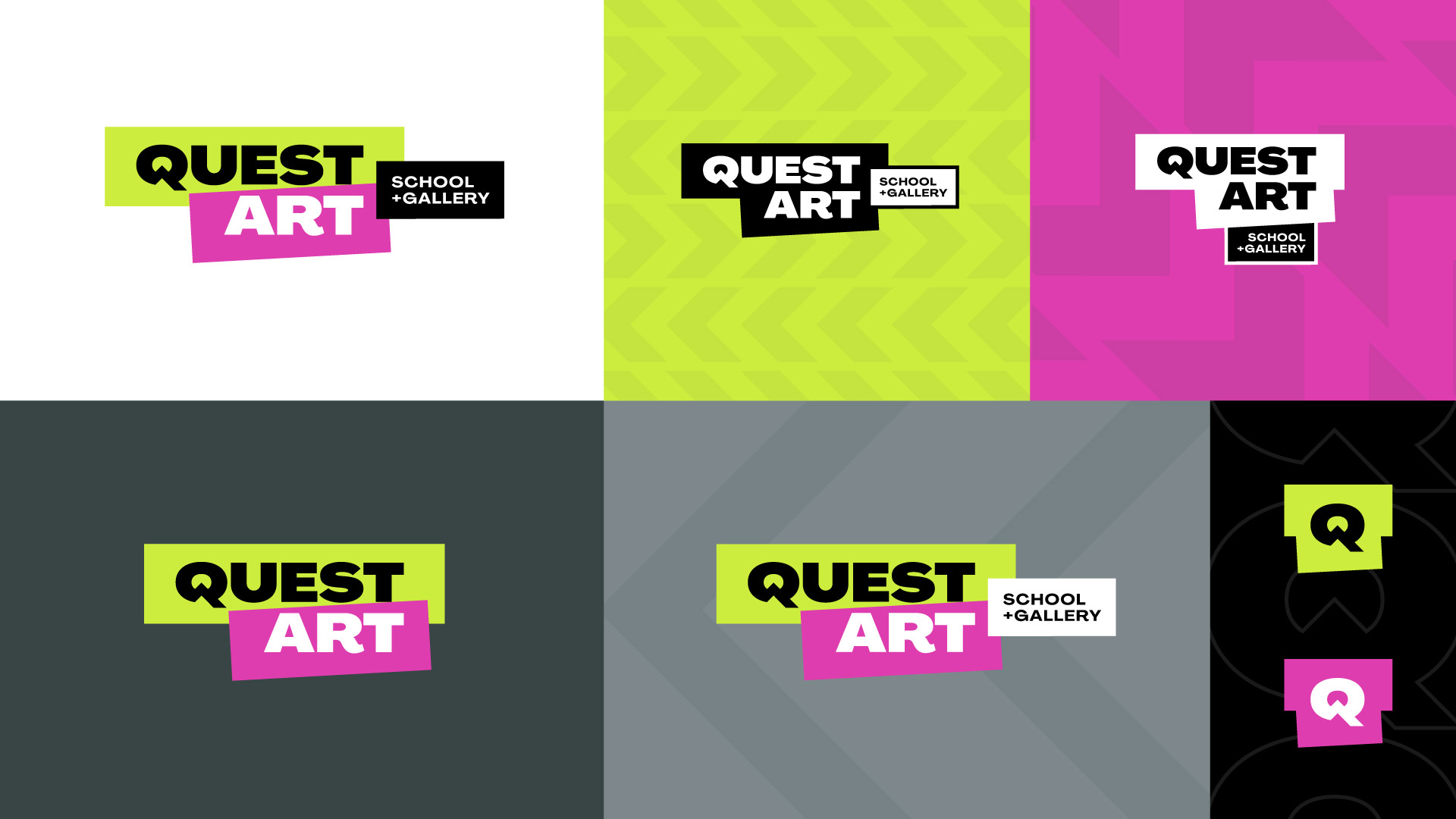 quest art school and gallery logo variations