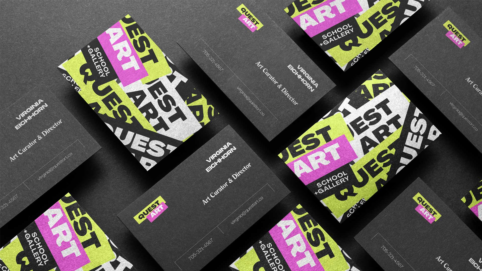 quest art school and gallery business card design